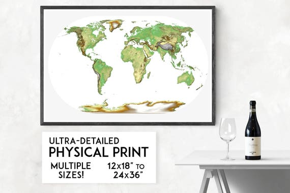 Beautiful world map print physical world map art travel map like this item gumiabroncs Images