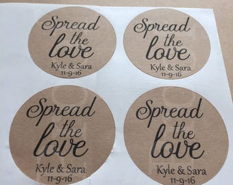 Spread the Love stickers - favor stickers- wedding favor sticker- shower stickers- wedding sticker