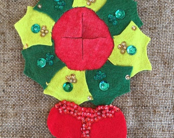 Vintage 1960's Handcrafted Hand Sewn Sequined, Appliqued and Beaded Felt Wreath with Bow Door Knob Cover