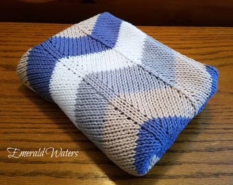 Knitted Baby Blanket, Baby Shower Gift, Baby Boy Gift, Cotton Baby Blanket, Knitted Blanket