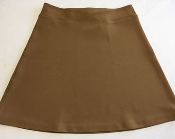 Amaretto Ponte 4-Way Stretch Knit Activewear/Officewear Skirt with Hidden Adjustable Tie Comfortable A-line Cut Skims over Hips