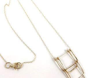 Gold Geometric, Loop Jewelry, gold fill, architectural jewelry, deco, rectangles necklace, Jewelry Victoria BC Vancouver Island Canada