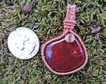 OOAK Red Floral Kiln Fired Glass Molded Cabochon and Copper Wire Wrapped Pendant