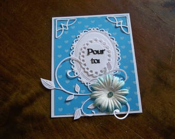 pretty blue and white card envelope included