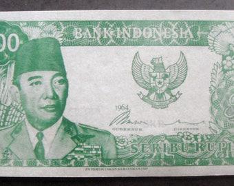 1000 soekarno paper money green (souvenir) 1964 for talisman