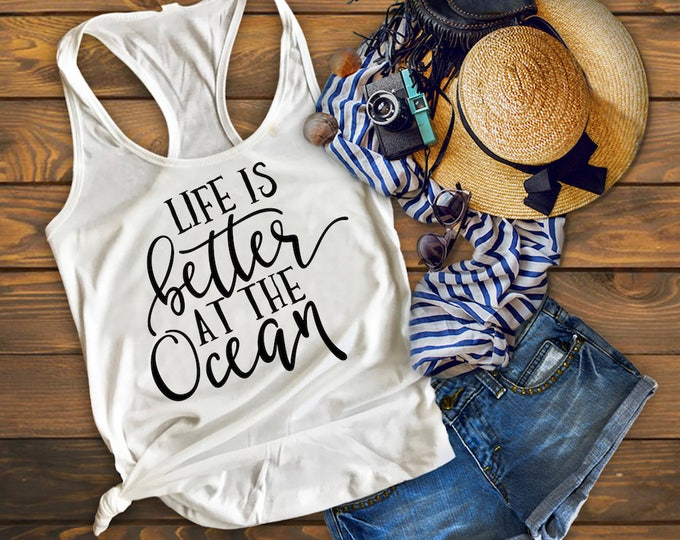 Life Is Better At The Ocean Tank Top-Vacation Tank Top-Beach Shirt-Bella Canvas Flowy Tank Top-Loose Fit