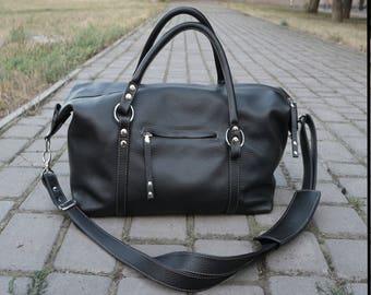 Large Leather bag Black top handle leather bag mens Daffle leather crossbody bag Traveler's gift big leather purse crossover leather bag