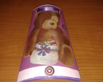 Terracotta tile, Tile decoupage, teddy bear, children's bedroom decor, purple, hanging, gift idea