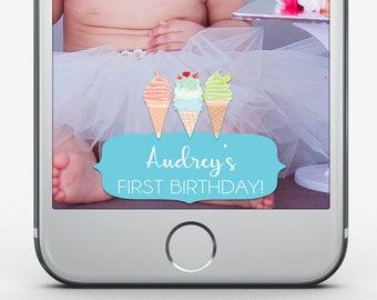 Custom Snapchat Filter, Ice Cream Birthday, Kid's Birthday, First Birthday, Tween Birthday Party, Snapchat Geofilter, Sweet Celebration