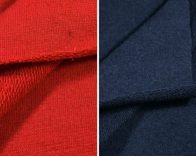 Cotton French Terry Knit Fabric with Spandex (Wholesale Price Available By the Bolt) USA Made Premium Quality - 5471R2 - 1 Yard