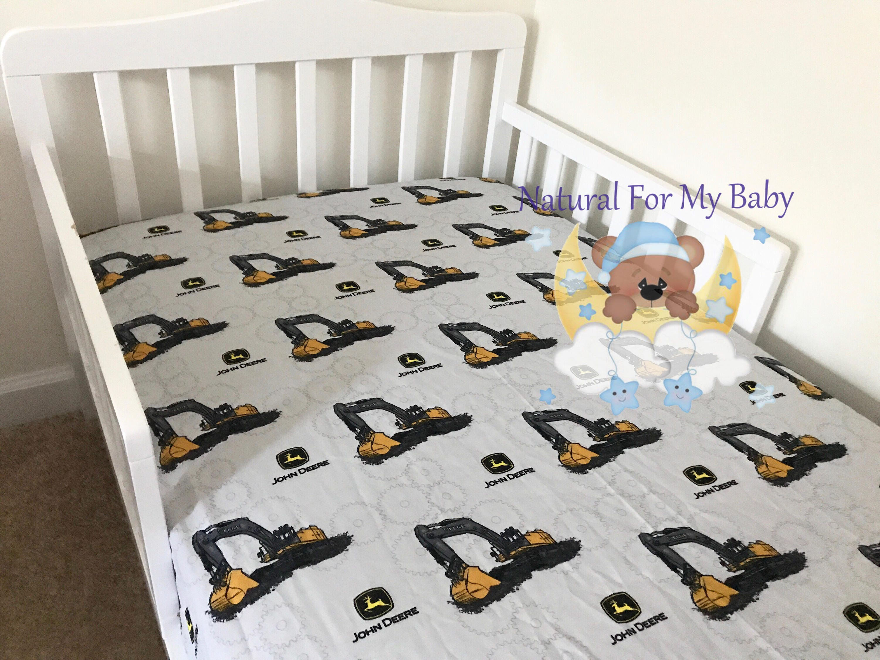 ready to ship tractor fitted crib sheet bedding transport toddler bedding cute baby bedding 100