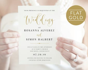 Gold Wedding Invitation-Calligraphy-Printable Invitation-Editable Invitation-Invite-Wedding Template-PDF Instant Download -SN015_WIGold
