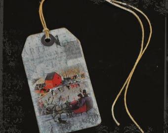 "Set of 5 labels / ""vintage Christmas"" tag"