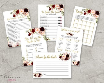 Marsala Bridal Shower Games Set Bridal Trivia Games Printable Burgundy Bridal Games Pink Bridal Shower Quiz Cards Instant Download - BG018