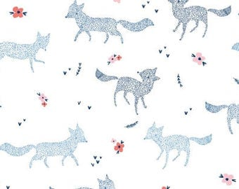 One Yard Cut - Dotted Foxes - Pine Grove for Dear Stella Designs -  Quilters Cotton - Fabric by the Yard