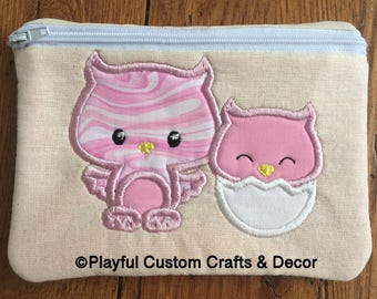 Momma and Baby Owl Zipper Pouch