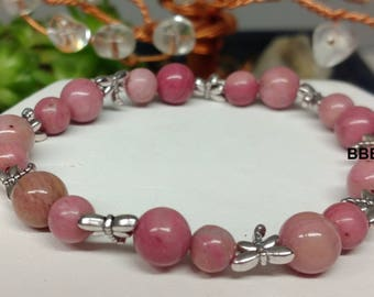 Bracelet Tibet Rhodocrosite stone against jealousy, pearls, 6 and 8 mm and silver dragonflies