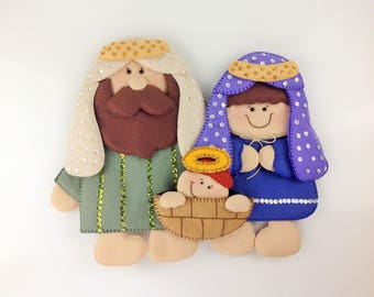 Felt Nativity Scene Felt Christmas Wreath Holy Family Nativity Christmas Decoration Hanging Decor Door Decor Handmade Nativity Set