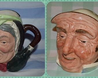 Royal Doulton Character Jugs x 2, Sairey Gamp D5528 & Farmer John D5788  style 1 A Character jug