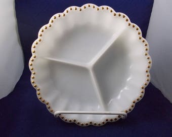 Vintage 3 Section Milk Glass Serving Dish With Gold Dots Trim