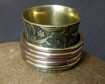 Meditation Spinner rings | Prayer wide bands ring | Brass and copper jewelry | Narrow spinning rings band | Indian Boho Brass jewelry | R152