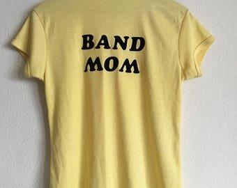 1970s BAND MOM Felt Letter Distressed Threadbare Vintage T Shirt // Size Small