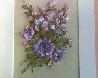 Embroidered card.Greeting card.Ribbon embroidery,Bouquet of flowers.For any occasions.