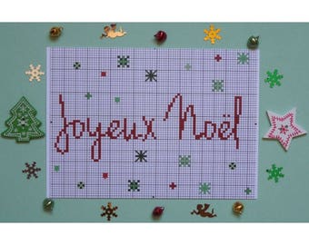 Map postcard Merry Christmas with embroidery pattern