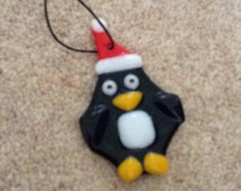 Fused glass Christmas penguin decoration
