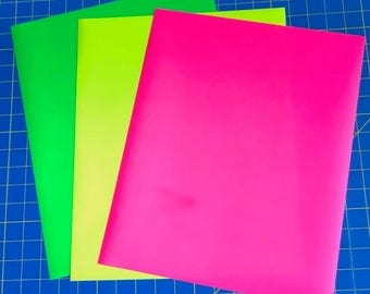 Neon Fluorescent EasyWeed Iron On Heat Transfer, Pink, Green, Yellow, For Cricut Silhouette