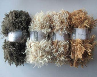 4 skeins wool fur, Tan white horse, 4 colors, 100% polyester.