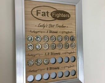 Personalised Weight Loss Tracker Goal Board. Add your name and for every pound you lose place a pound coin on the board. Great for saving!!!