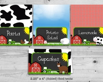 Farm theme - food tent, personalized with your food items - digital / printable
