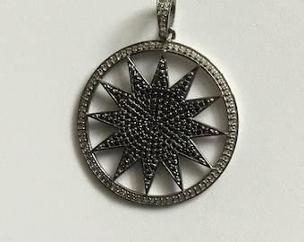 Pave white topaz Black spinal sterling silver charm