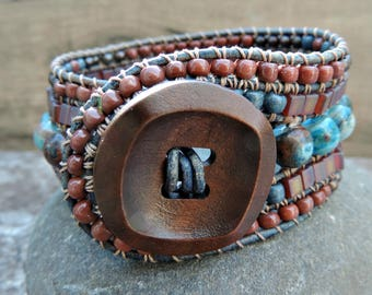 Beaded Leather Cuff Bracelet. 5 Row Cuff Bracelet. Leather Cuff. Boho Cuff Bracelet. Beaded Leather Wrap Bracelet. Beaded Bracelet.