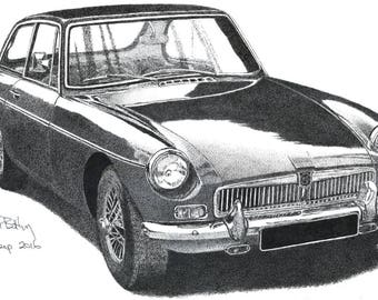 Greeting Card - Pen & Ink Drawing, A5 - MG MGB GT