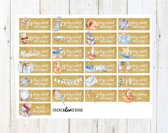 Christmas Countdown ( 25 Matte Planner Stickers )