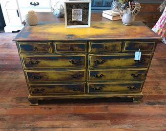 Yellow-Blue-Red shabby Dresser