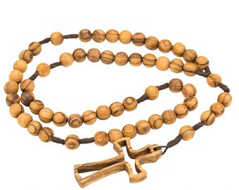Olive Wood Rosary with Latin Olive Wood Cross and Jute Bag for Gift