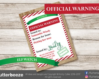 Elf watch, under surveillance, ELF warning, be good at christmas, Editable Christmas tags, gift labels, DIY gift tags, instant PDF file