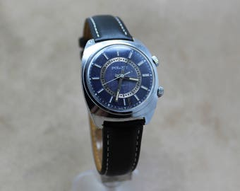 """Vintage wrist watch """"Poljot"""" with mechanical alarm, """"blue jeans"""" dial color, 1980s, made in USSR, watch serviced."""