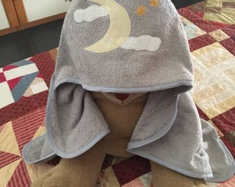 Bathrobe/Towel with hood Luna/notte for children