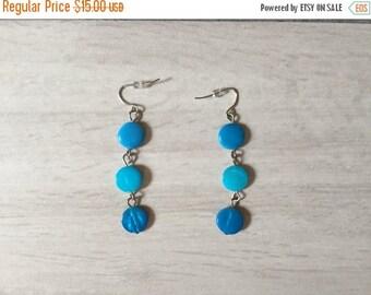 20% OFF SALE... ocean blue earrings   minimalist dangle earrings