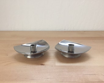 Vintage 1960s Stainless Steel Candlestick Holders Stelton Denmark Mid Century Thin Candle Danish Designed Pair Silver Triangular Tableware