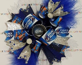 Bud Light Beer Hair Bow, Bud Light Beer Bow, Bud Light Bow, Bud Light