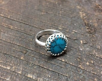Size 7 Vintage Faux Turquoise Sterling Silver Ring