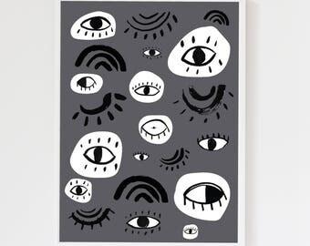 Eyes Charcoal Grey Children's Art Print