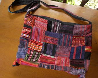Hippie sling bag made from vintage textile - asian tribal textile - crossbody bag made from ethnic Hmong fabric - patchwork bag
