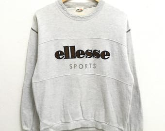 RARE!!!! Ellesse Sports Big Logo Embroidery SpellOut Crew Neck Grey Colour Sweatshirts Hip Hop Swag M Size