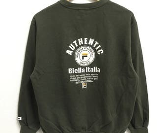 RARE!!! Fila biella Italia Big Logo Embroidery Crew Neck Green Colour Sweatshirts Hip Hop Swag M Size